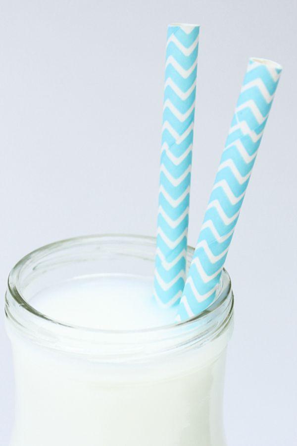 Light Blue Chevron Paper Straws | Bulk Chevron Light Blue Paper Straws