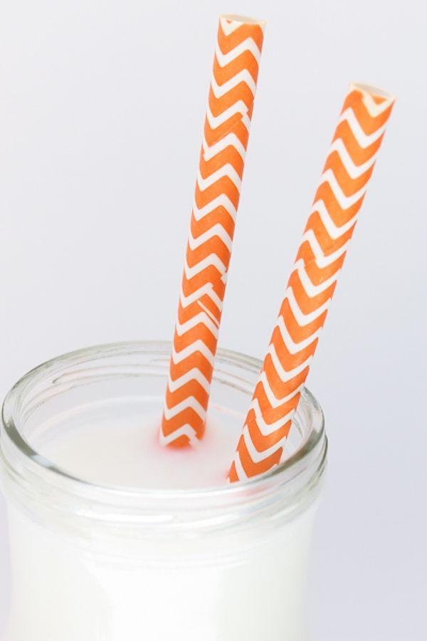 Orange Chevron Paper Straws - Orange Paper Straws