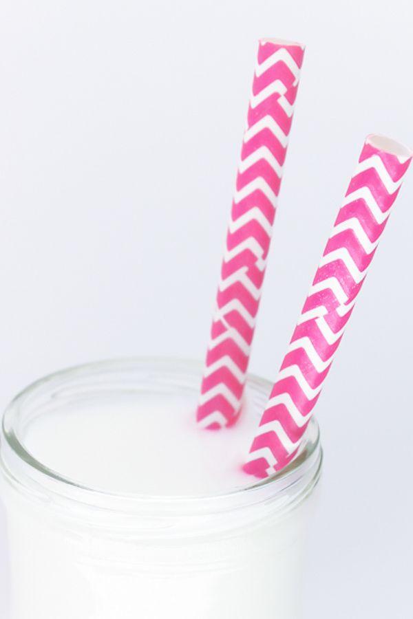 Pink Chevron Paper Straws - Pink Paper Straws
