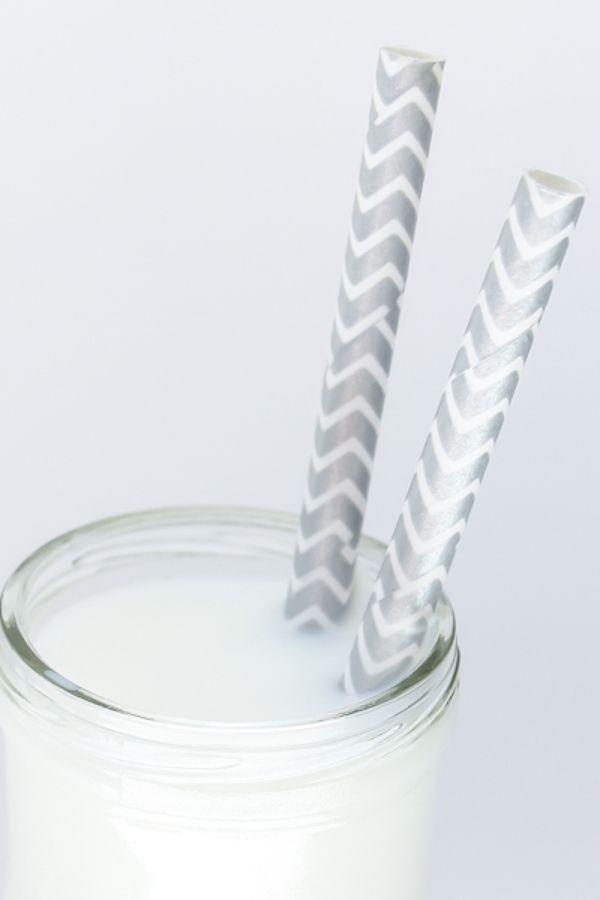 Silver Chevron Paper Straws - Chevron Silver Paper Straws