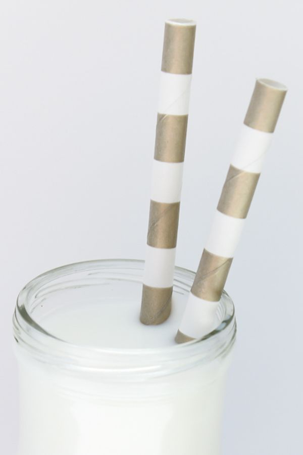 Gold Rugby Striped Paper Straws - Striped Paper Straws