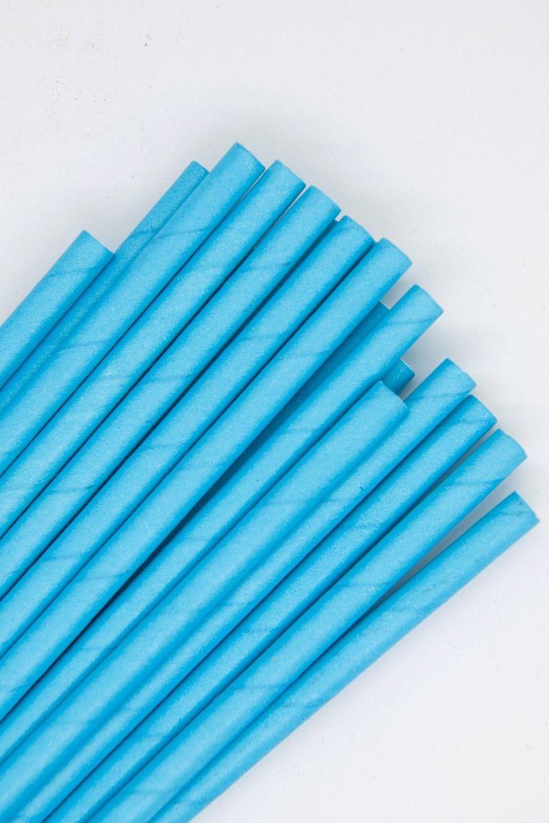 Solid Blue Paper Straws | Bulk Blue Paper Drinking Straws, Cake Pop Sticks