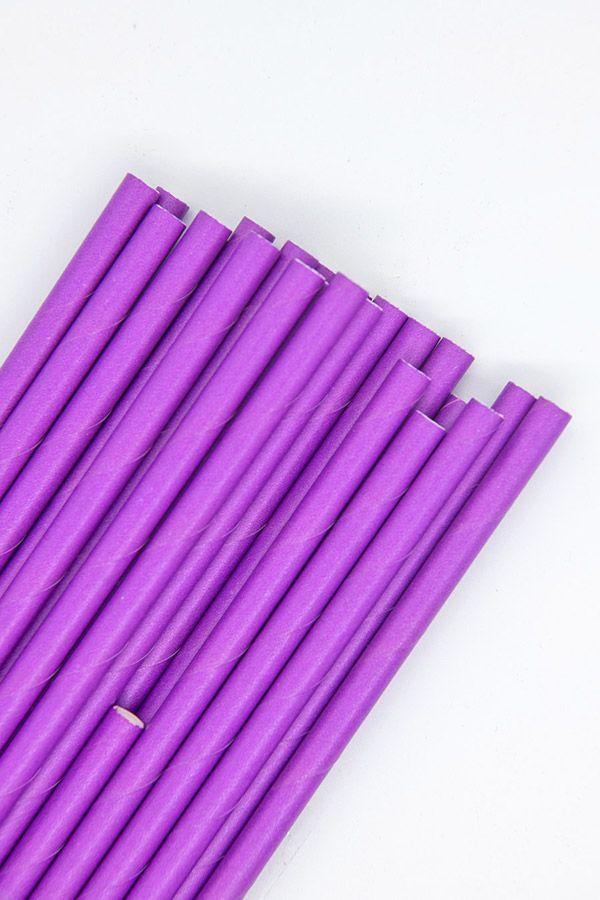 Solid Purple Paper Straws   Bulk Purple Paper Drinking Straws, Cake Pop Sticks