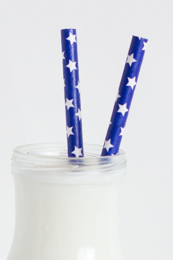 Navy Blue Star Paper Straws - Patriotic Paper Straws