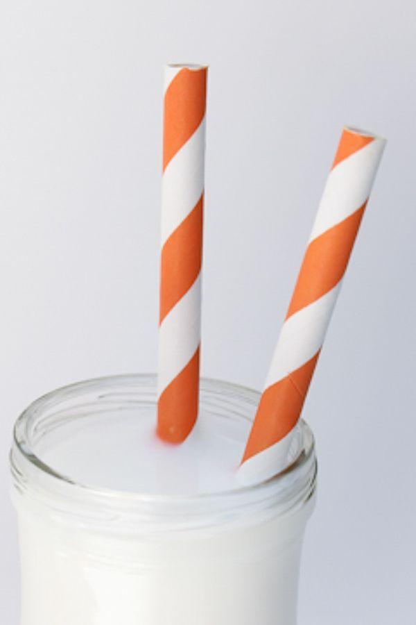 Orange Striped Paper Straws - Orange Paper Straws