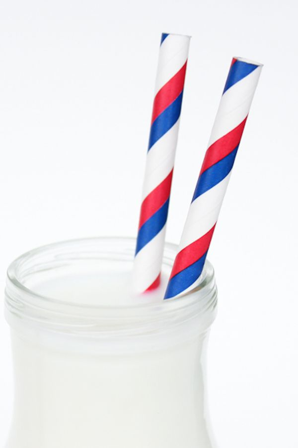 Red & Blue Striped Paper Straws - Patriotic 4th of July Paper Straws