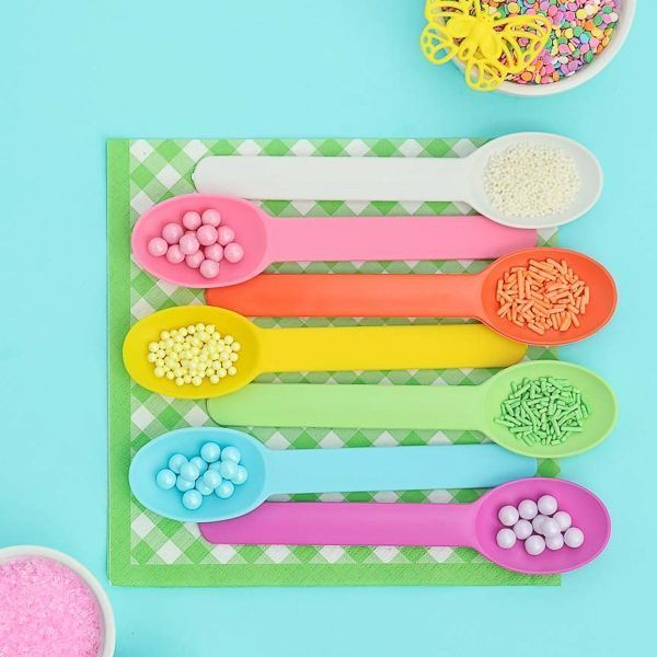 Pastel Assortment of Reusable Plastic Ice Cream Spoons