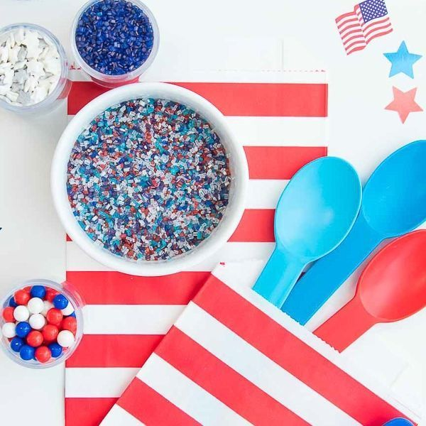 Red, White, and Blue Ice Cream Spoons - Patriotic Party Ideas