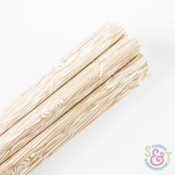Wood Print Paper Straws - Woodlands Party Paper Straws