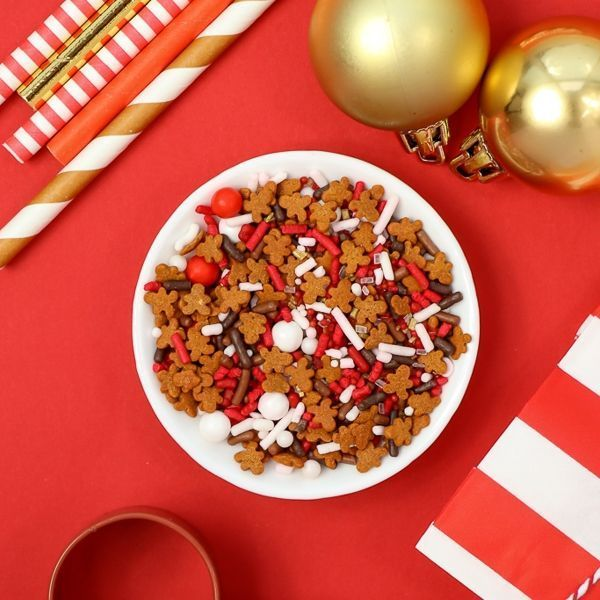 Reindeer Food Sprinkles Mix - Gingerbread Man Christmas Sprinkles | Warm Christmas sprinkles with a touch of gold. Great for an elegant Christmas table.