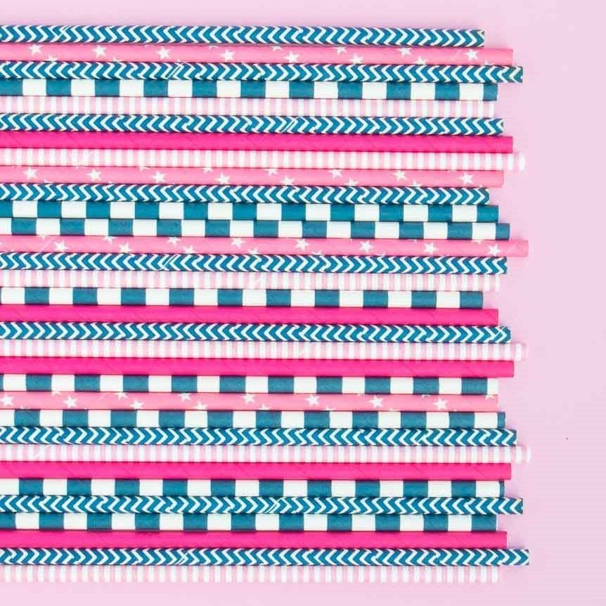 Navy Blue Rugby Striped Paper Straws- Sail Away Party Paper Straws- Striped Paper Staws