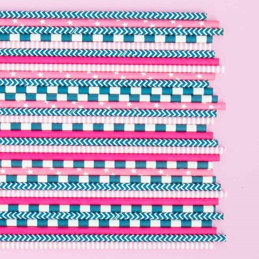 Navy Blue Chevron Paper Straws- Navy Blue Paper Straws- Sail Away Paper Straws