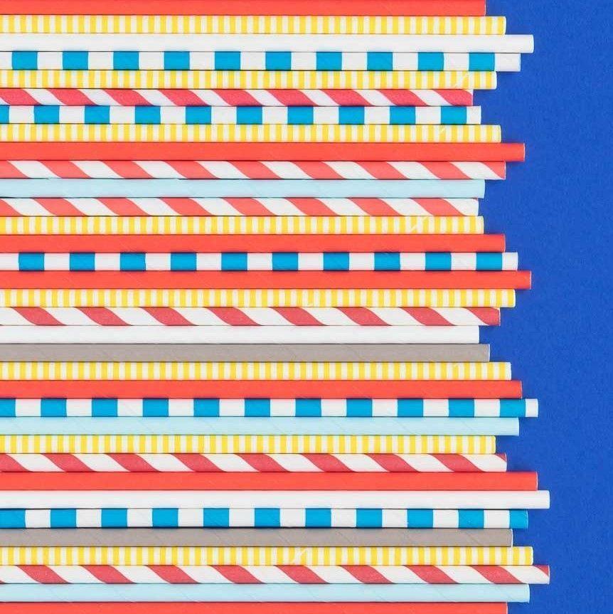 Red Stripe Paper Straws- Snow White Party Straws- Red Paper Straws