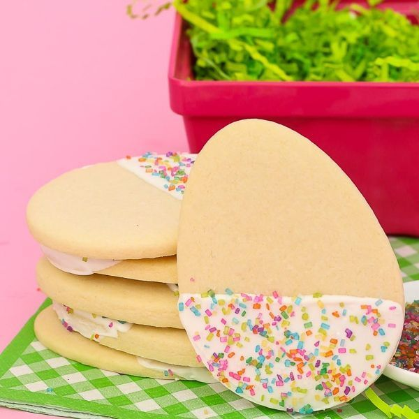 Chocolate Dipped Easter Cookies with Bunny Hop sugar crytals