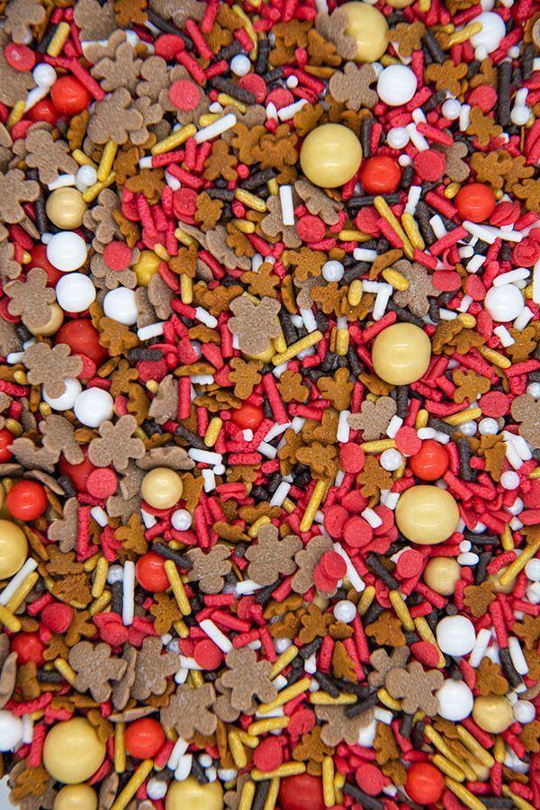 Gingerbread Man Christmas Sprinkles Mix | Reindeer Food Sprinkle Medley, Edible Blend
