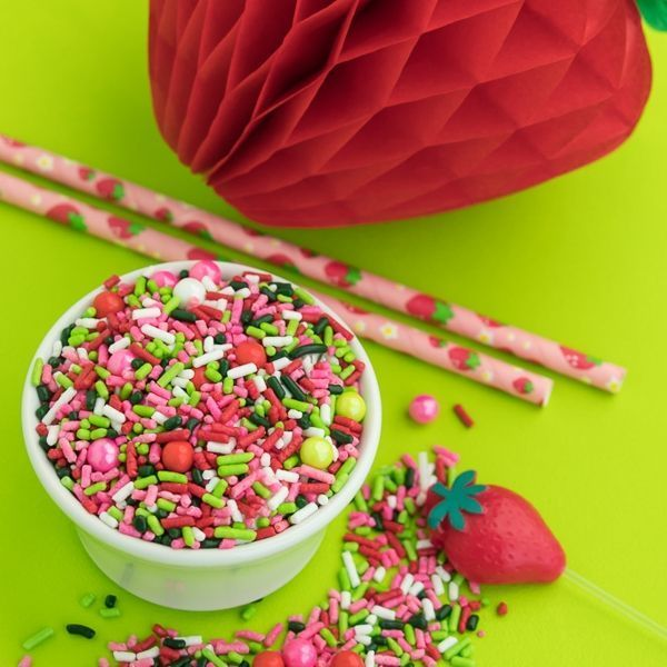 Strawberry Party Supplies - Strawberry Sprinkles and Paper Straws