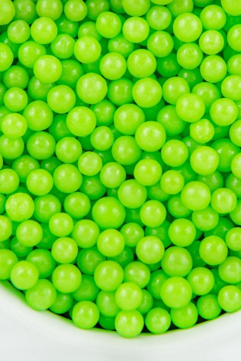 Midi Lime Sugar Pearls - Mini Lime Green Candy Pearls - Lime Green Sugar Beads