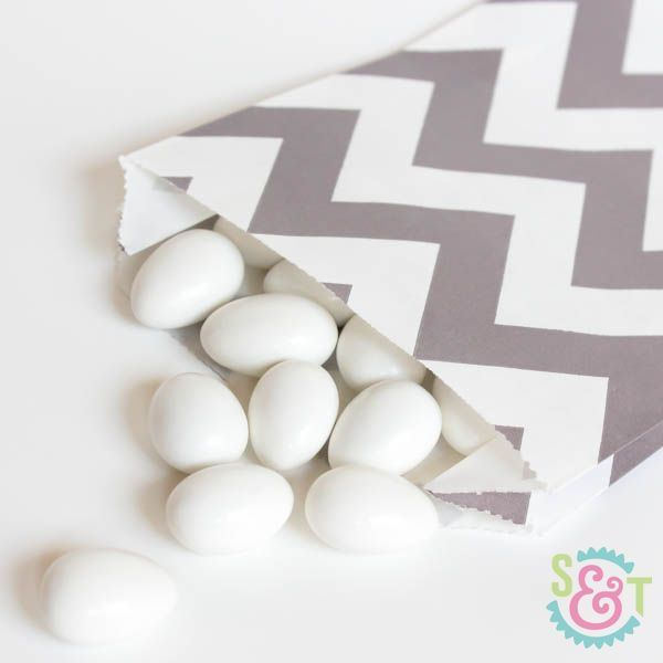 Gray Chevron Goodie Bags - Gray Goody Bags - Party Favor Bags