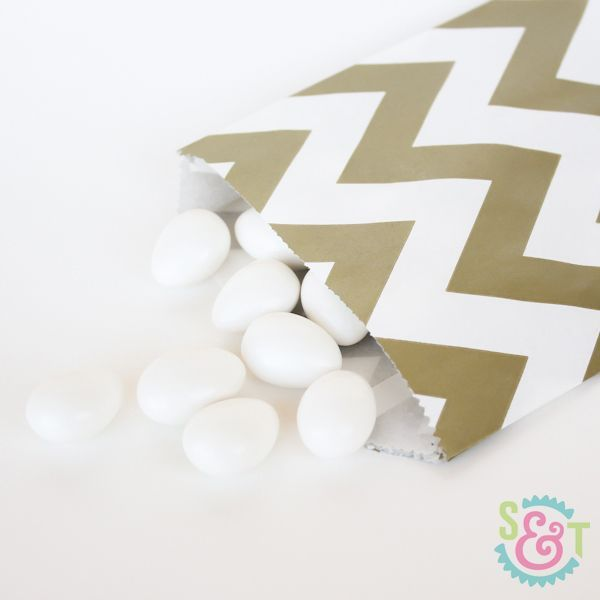 Gold Chevron Goodie Bags - Gold Goody Bags - Party Favor Bags