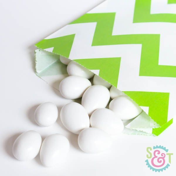 Lime Green Chevron Goodie Bags - Lime Green Goody Bags - Party Favor Bags