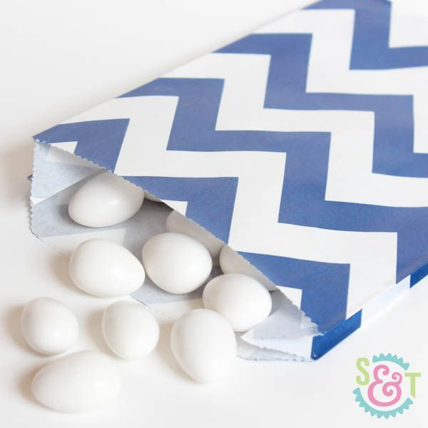 Navy Blue Chevron Goodie Bags - Navy Blue Goody Bags - Party Favor Bags