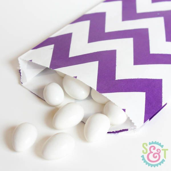 Purple Chevron Goodie Bags - Purple Goody Bags - Party Favor Bags