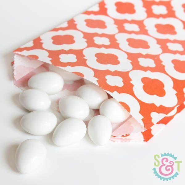 Orange Quatrefoil Goodie Bags - Orange Goody Bags - Party Favor Bags