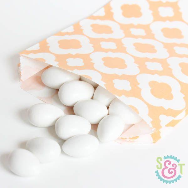 Peach Quatrefoil Goodie Bags - Peach Goody Bags - Party Favor Bags