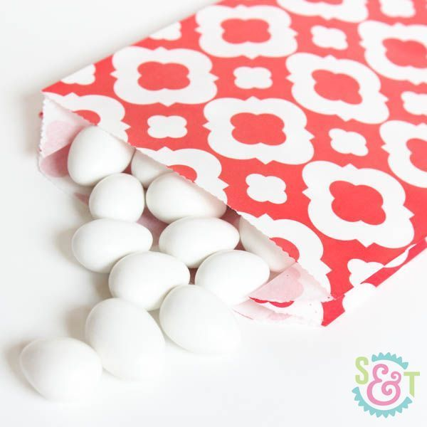 Red Quatrefoil Goodie Bags - Red Goody Bags - Party Favor Bags