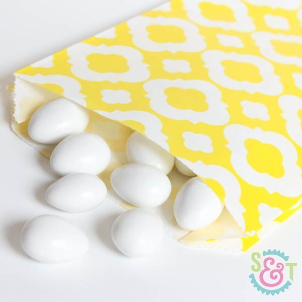 Yellow Quatrefoil Goodie Bags - Yellow Goody Bags - Party Favor Bags