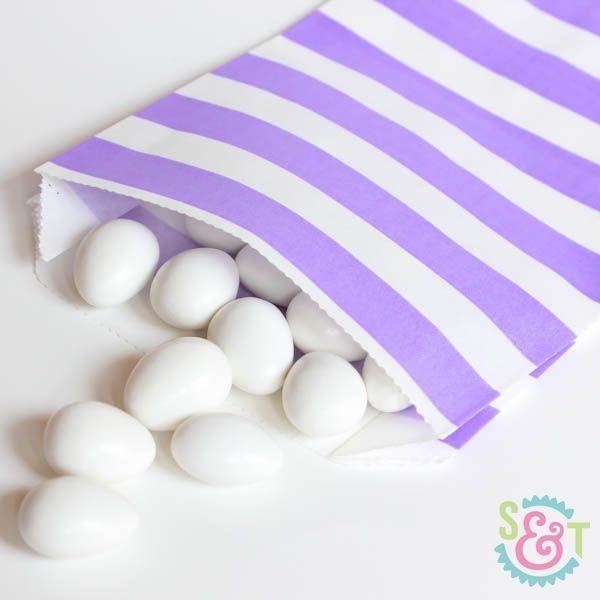 Light Purple Rugby Striped Goodie Bags - Light Purple Goody Bags - Party Favor Bags