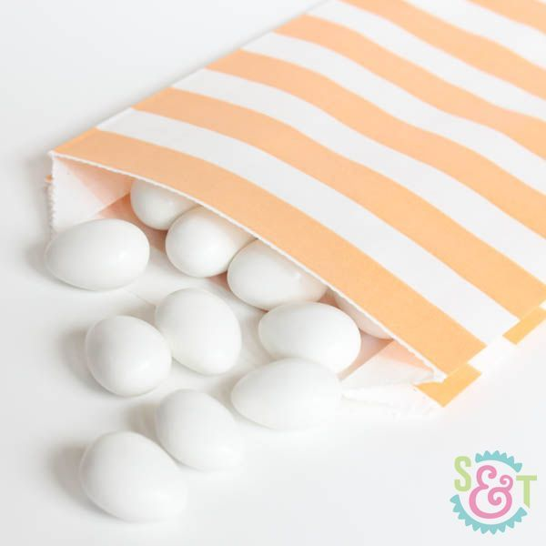 Peach Rugby Striped Goodie Bags - Peach Goody Bags - Party Favor Bags