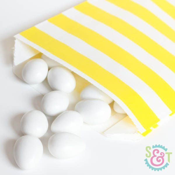 Yellow Rugby Striped Goodie Bags - Yellow Goody Bags - Party Favor Bags