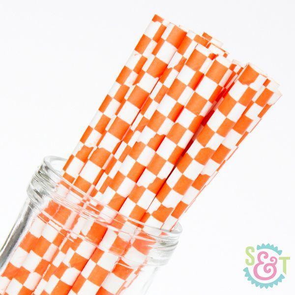 Orange Checkered Paper Straws - Orange Paper Straws