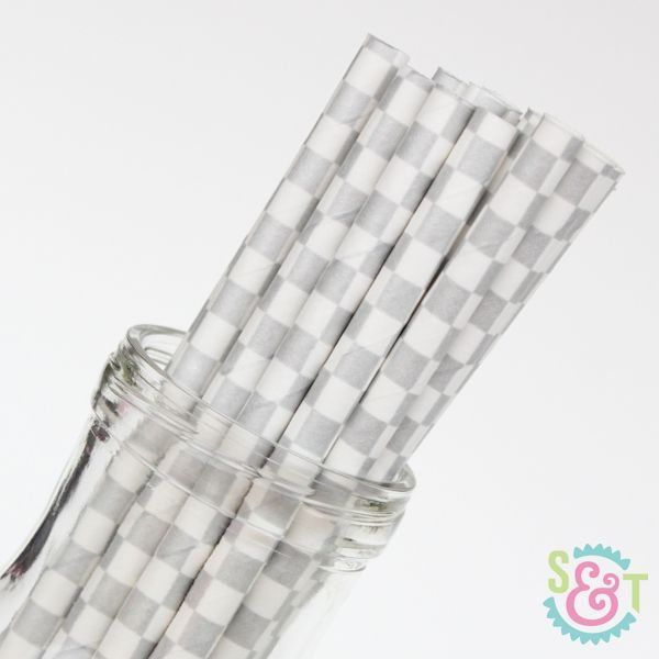 Silver Checkered Paper Straws - Silver Paper Straws
