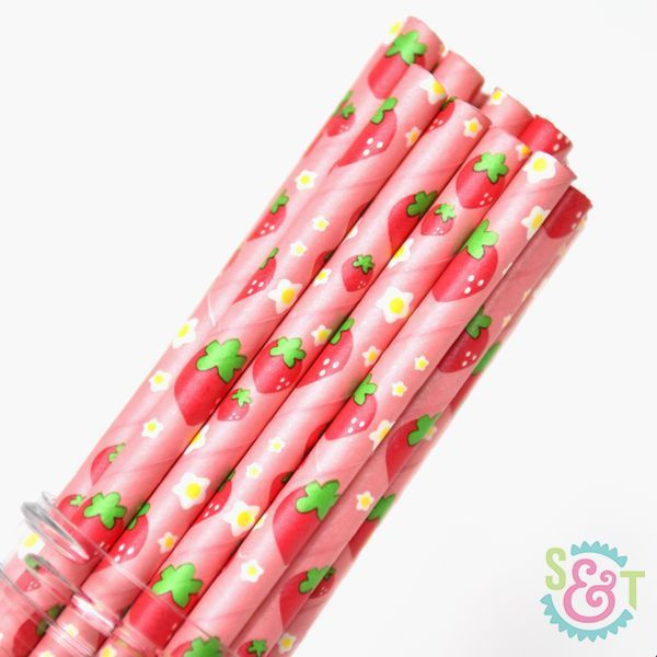 Strawberry Paper Straws - Strawberry Party Paper Straws