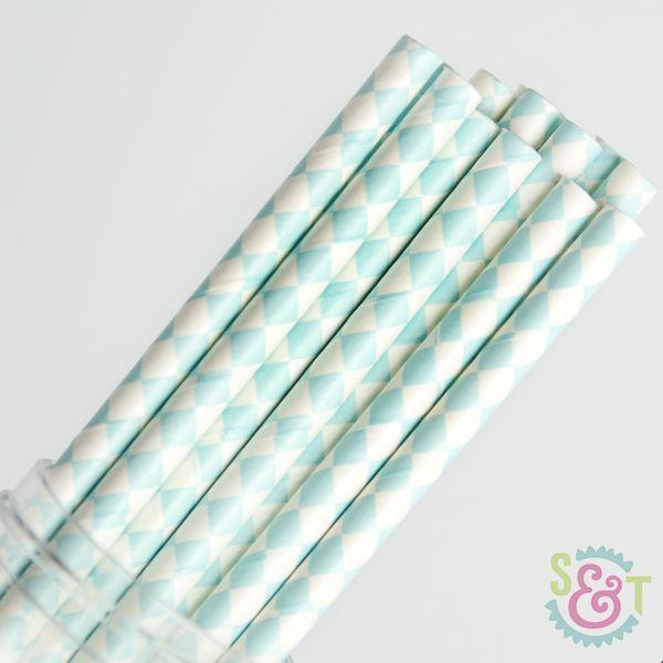 Harlequin Light Blue Paper Straws - Diamond Paper Straws