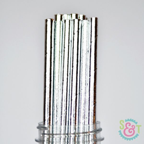 Solid Silver Foil Paper Straws - Solid Colored Paper Straws