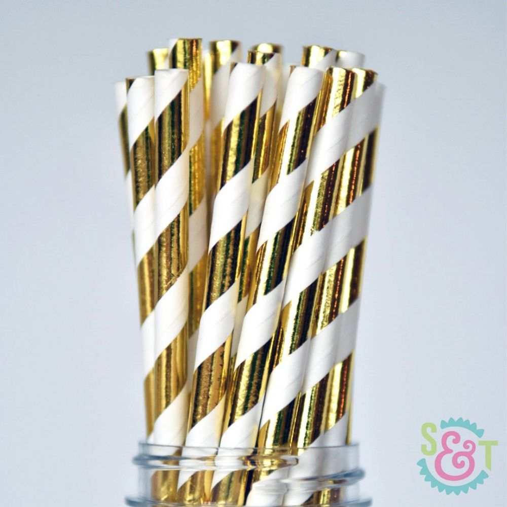Gold Foil Striped Paper Straws - Gold Foil Paper Straws