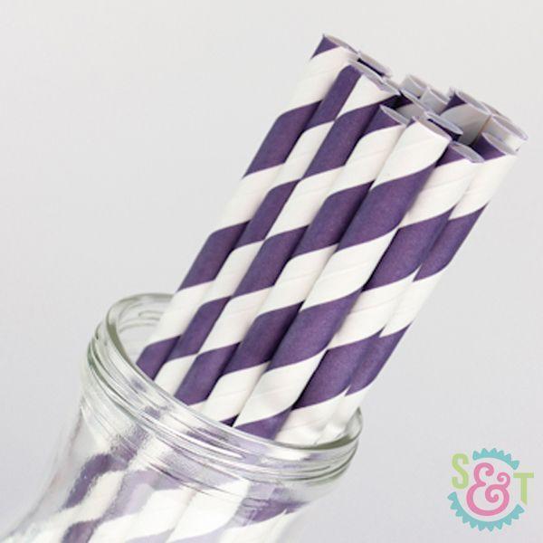 Purple Striped Paper Straws - Purple Paper Straws