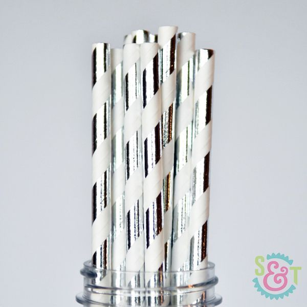 Silver Foil Striped Paper Straws - Silver Foil Paper Straws