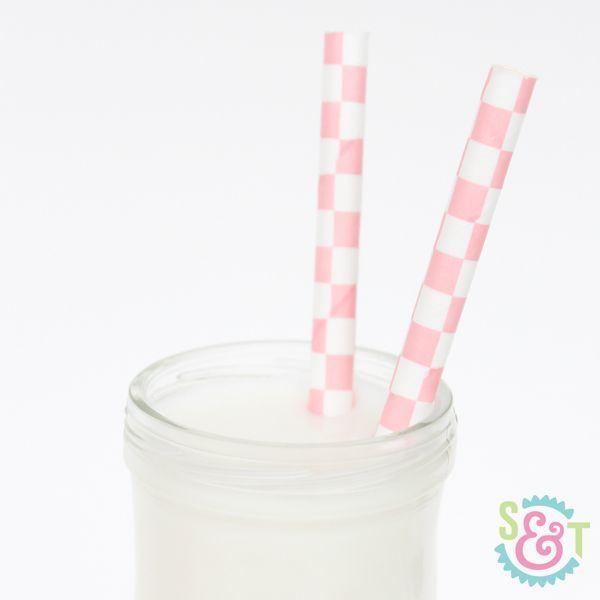 Light Pink Checkered Paper Straws - Light Pink Paper Straws
