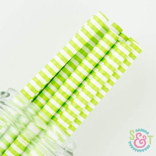 Lime Green Pinstripe Paper Straws - Lime Green Paper Straws