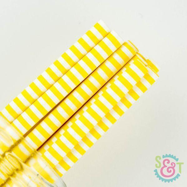 Yellow Pinstripe Paper Straws - Yellow Paper Straws