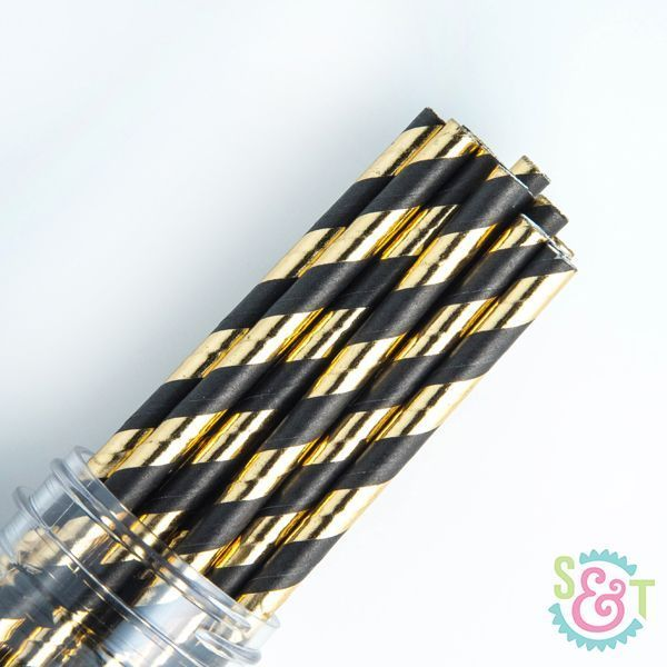 Black & Gold Striped Paper Straws - Black &b Gold Paper Straws