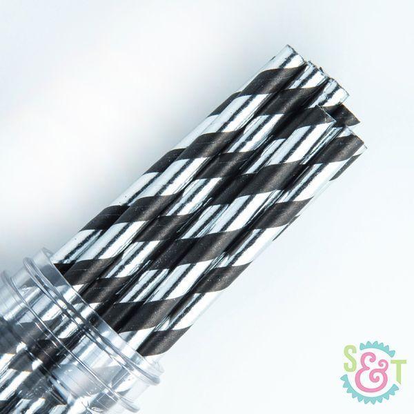 Black & Silver Foil Striped Paper Straws - New Year Paper Straws