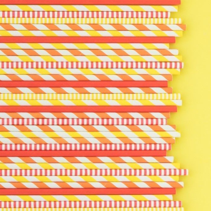 Thanksgiving Paper Straws- Orange Paper Straws- Orange Stripe Paper Straws
