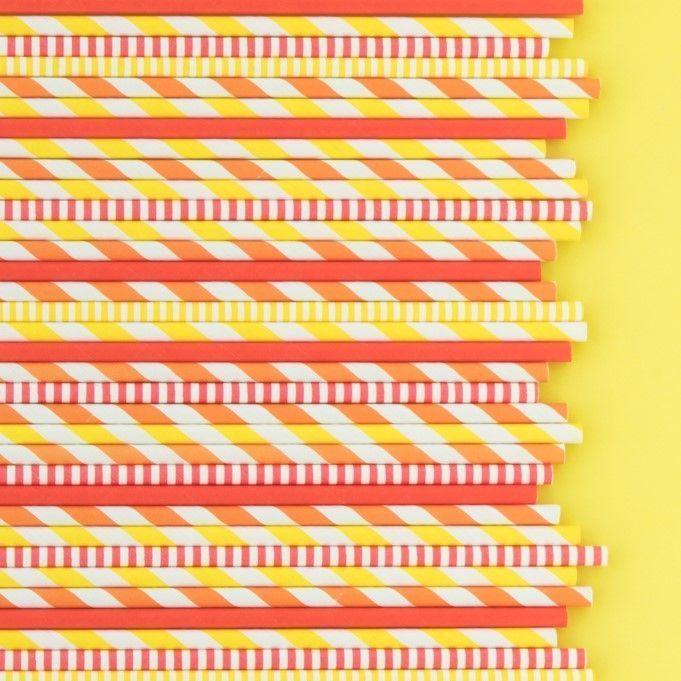 Thanksgiving Paper Straws- Yellow Paper Straws- Yellow Pinstripe Paper Straws