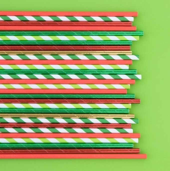 Solid Red Foil Paper Straws- Christmas Party Paper Straws- Foil Paper Straws