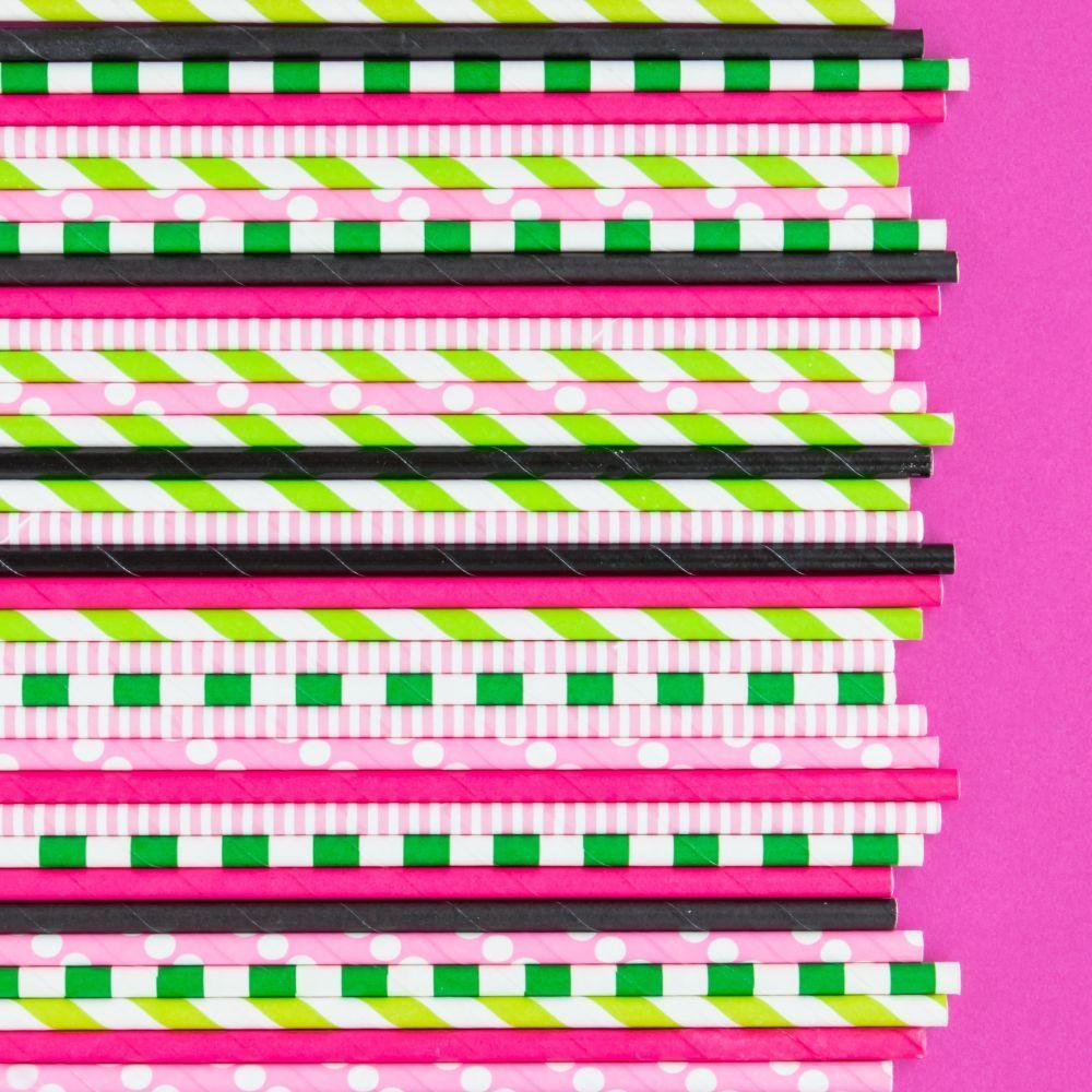 Light Pink Pinstripe Paper Straws- Light Pink Paper Straws- Watermelon Party Paper Straws